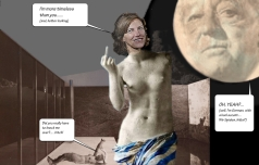 """HONORABLE MENTIONS: THE MIES IS THE MAN IN THE MOON? OKAY… AWARD: """"TALES OF THE IMMORTALS: AQUA NYMPH TAKES ON MAN IN THE MOON"""" BY RON KWASKE, AIA AND ILIANNA KWASKE, PH.D."""